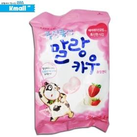 롯데 딸기우유 캔디 말랑카우 63g 유통기한: